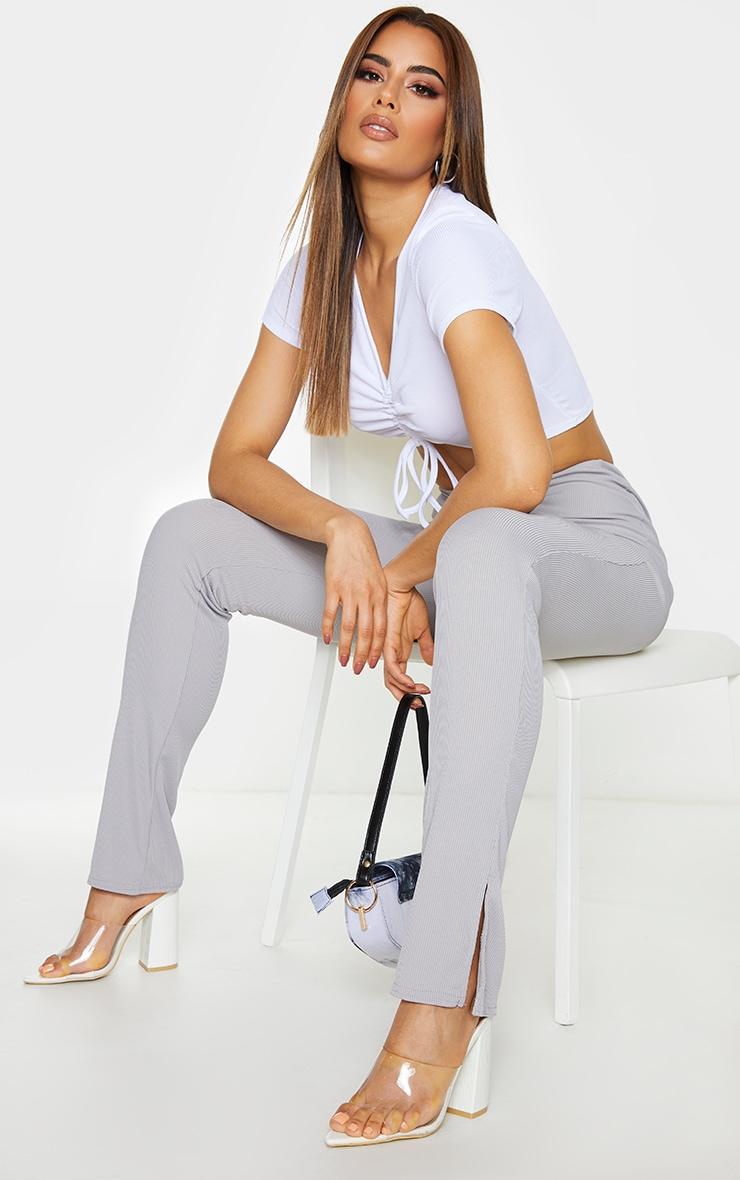 Tall Grey Ribbed Skinny Split Hem Trouser 1