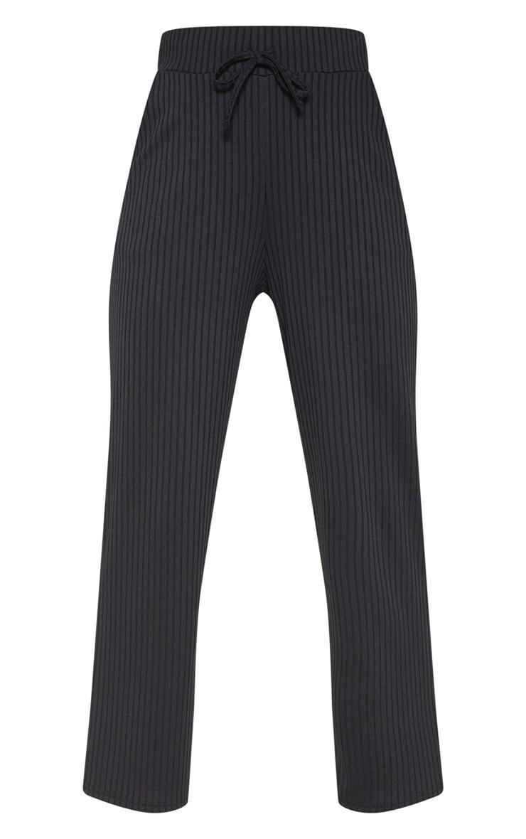 Black Basic Drawstring Waist Cigarette Pants 3