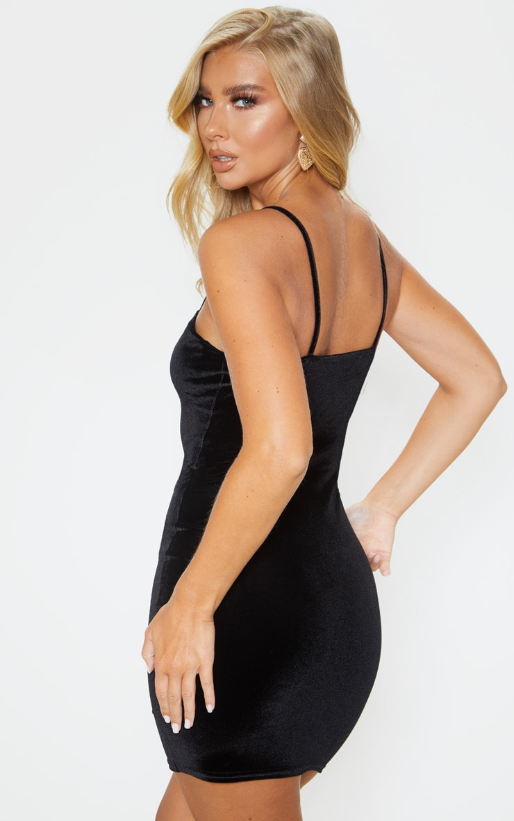 Black Velvet Strappy Cup Detail Bodycon Dress 2