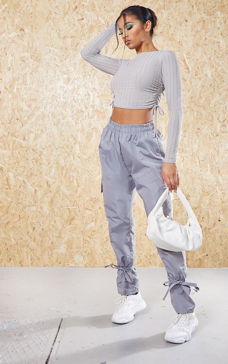 Grey Recycled Wide Rib Ruched Side Crop Top