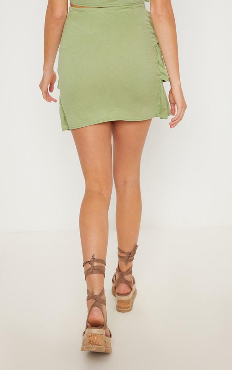 Sage Green Frill Mini Skirt 4