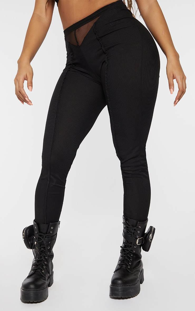 Shape Black Rib Mesh V Front Seam Detail Leggings 2
