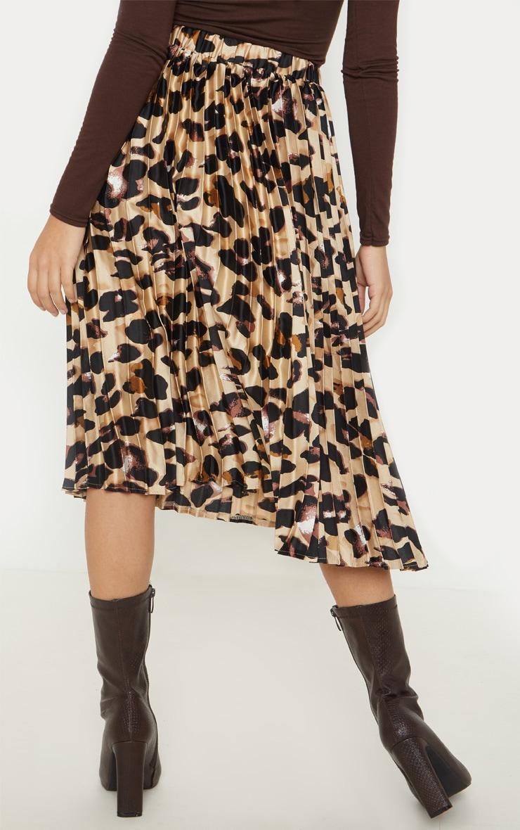 Petite Tan Leopard Print Pleated Midi Skirt 4