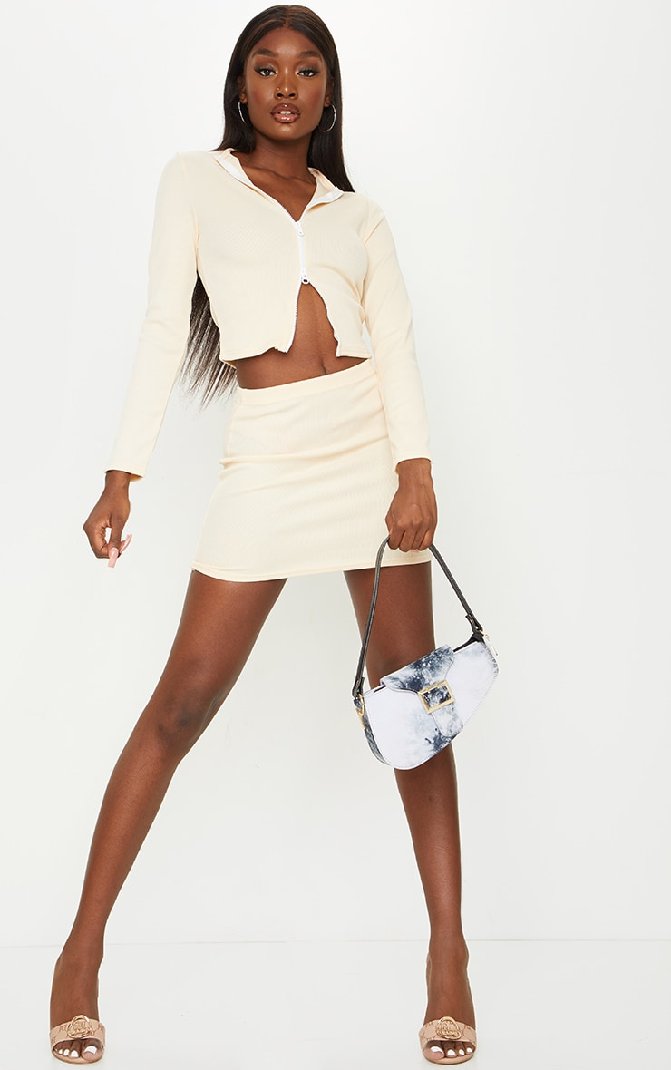 Tall Stone Structured Ribbed Mini Skirt 1