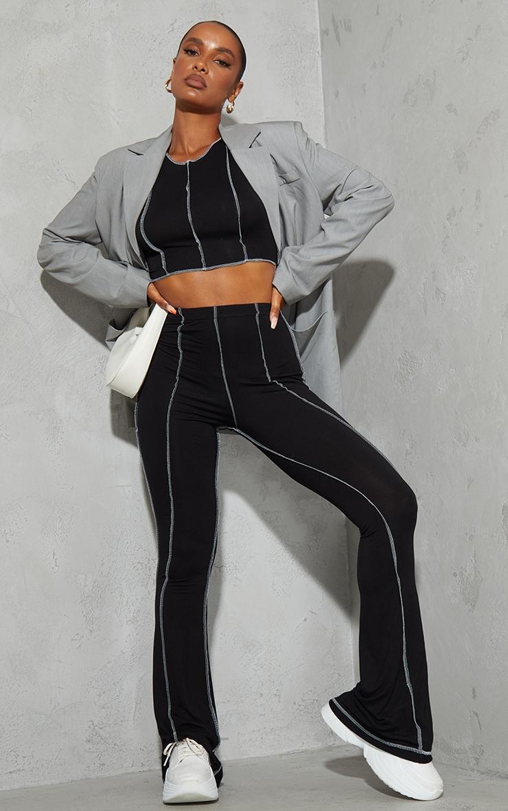 Black Contrast Stitch Seam Flared Trousers 1