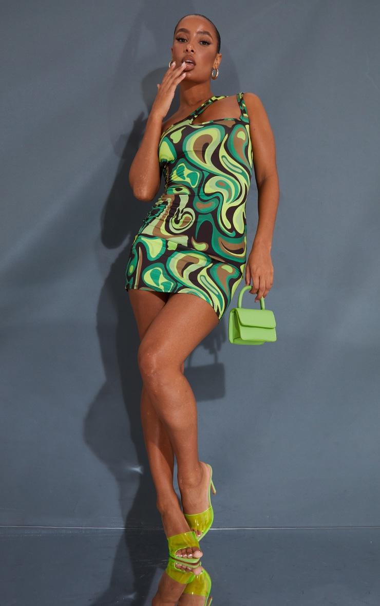 Green Swirl Print Slinky One Shoulder Cut Out Detail Bodycon Dress 3