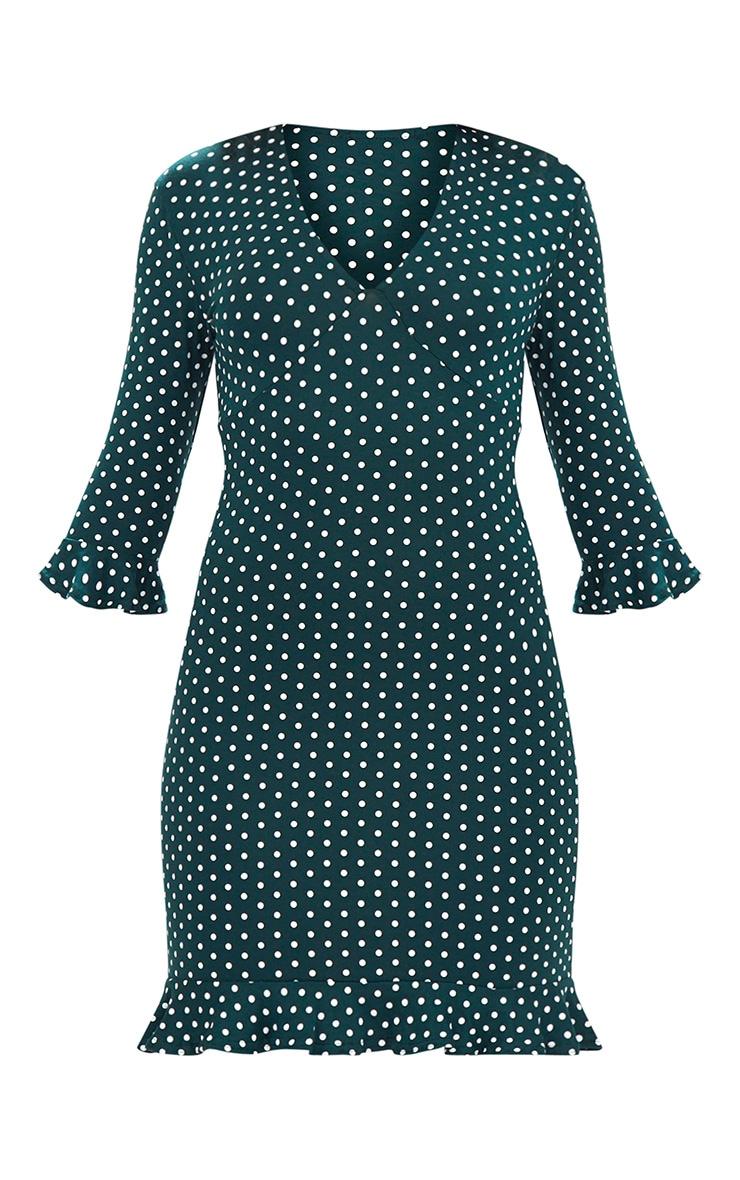 Forest Green Polka Dot Frill Hem Shift Dress 3