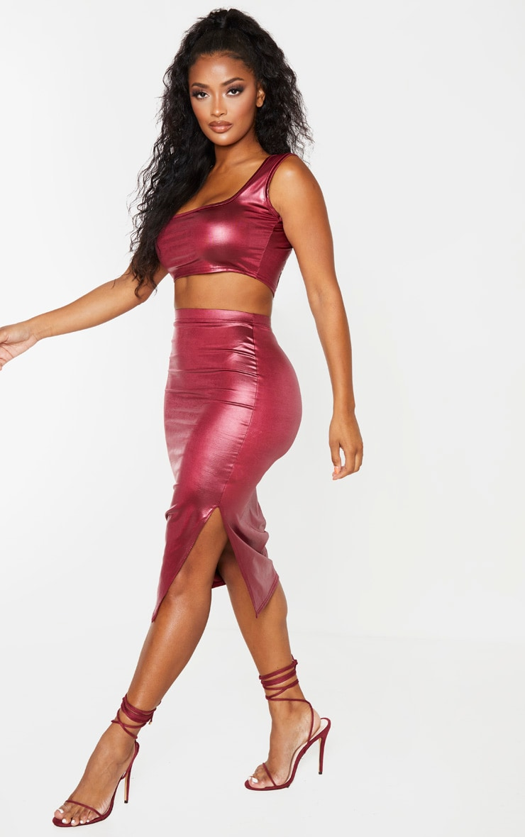 Shape Burgundy Metallic Slinky Square Neck Cropped Top 4