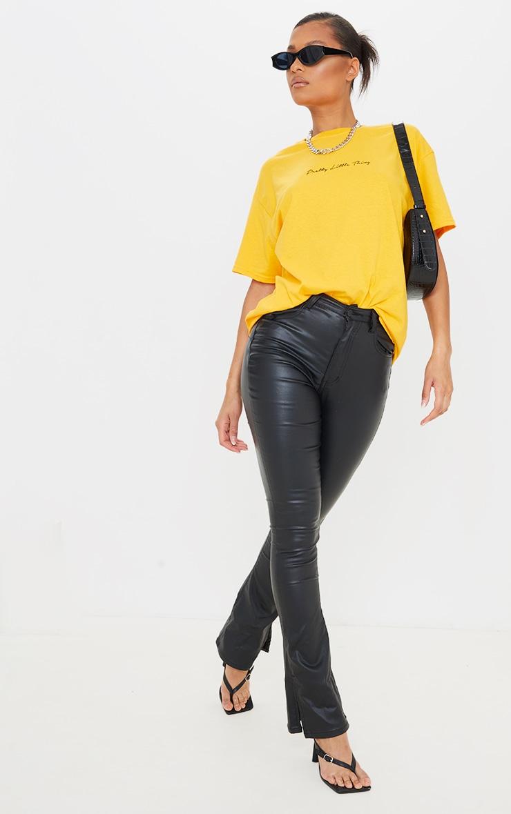 PRETTYLITTLETHING Mustard Graphic Oversized T Shirt 3