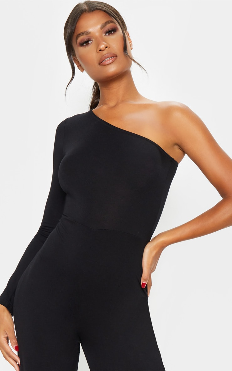 Black One Shoulder Long Sleeve Jumpsuit 5