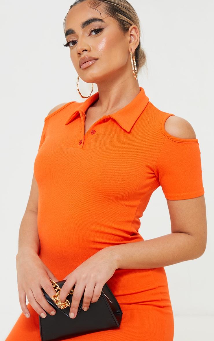Petite Orange Cut Out Shoulder Polo Dress 4