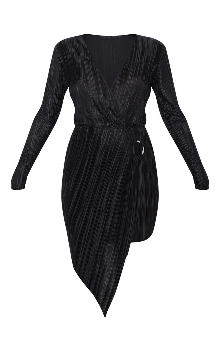 Black Plisse Ring Detail Wrap Bodycon Dress 3