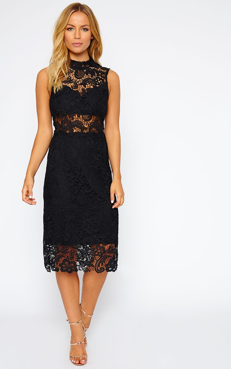 Lena Black Lace Midi Dress 1