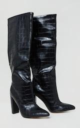 Black Wide Fit Croc PU Knee High Point Block Heel Boots 3