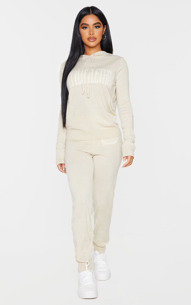 PRETTYLITTLETHING Petite Stone Knitted Hoodie 3