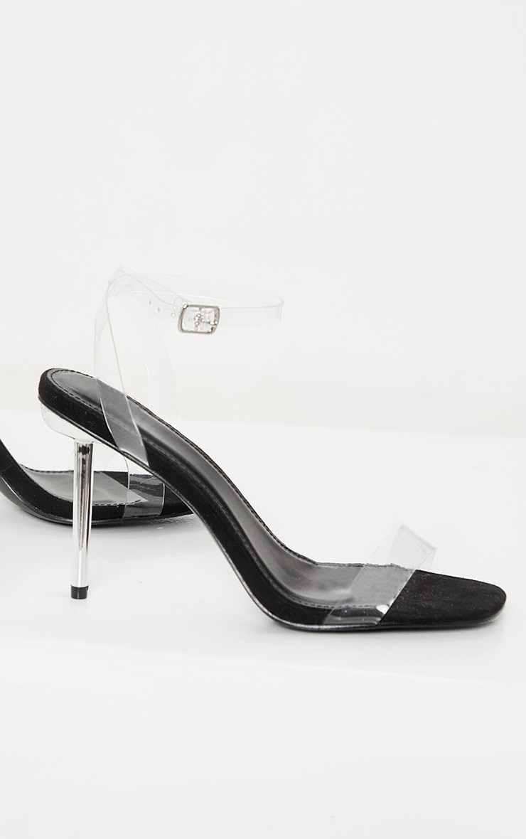 Black Metal Pin Heel Clear Sandal 3