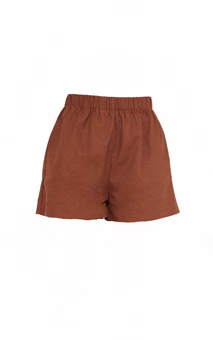 Brown Woven Elastic Waist Floaty Shorts 6