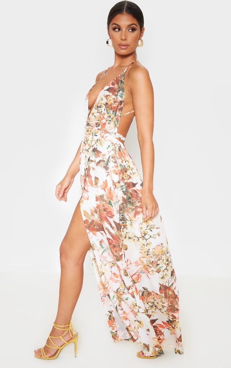 White Floral Print Chiffon Halterneck Maxi Dress 4