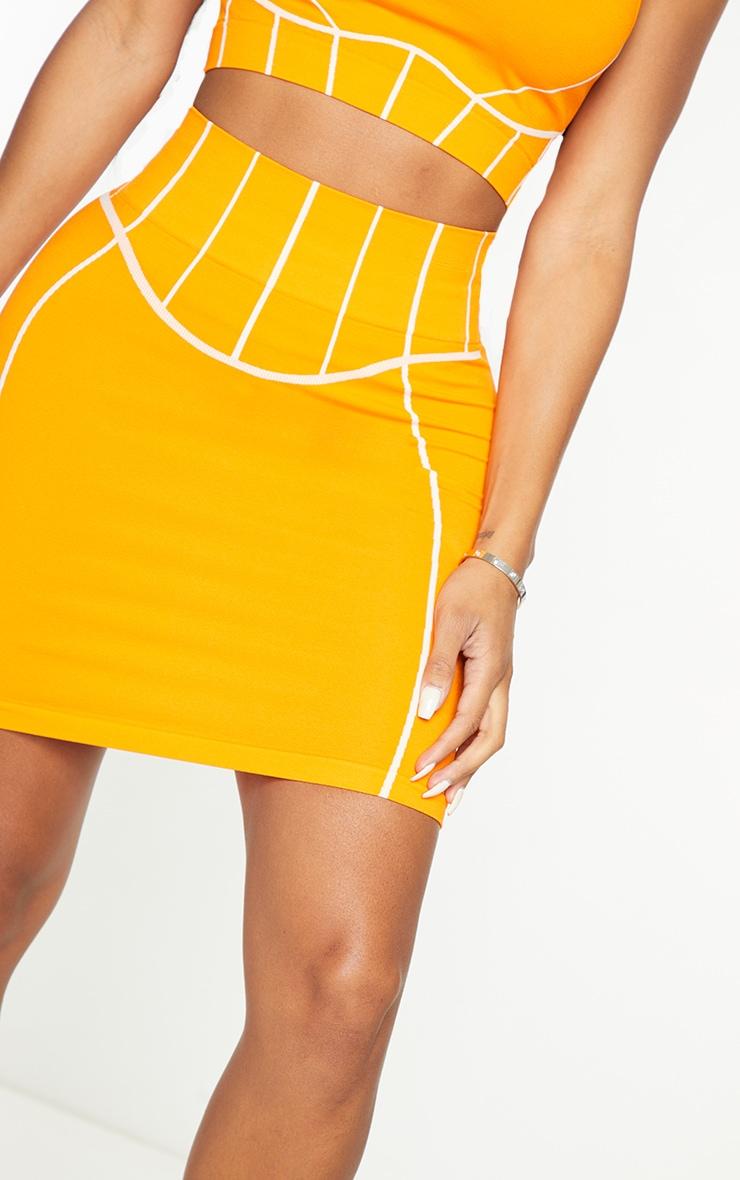 Shape Orange Seamless Contrast Detail Bodycon Skirt 5