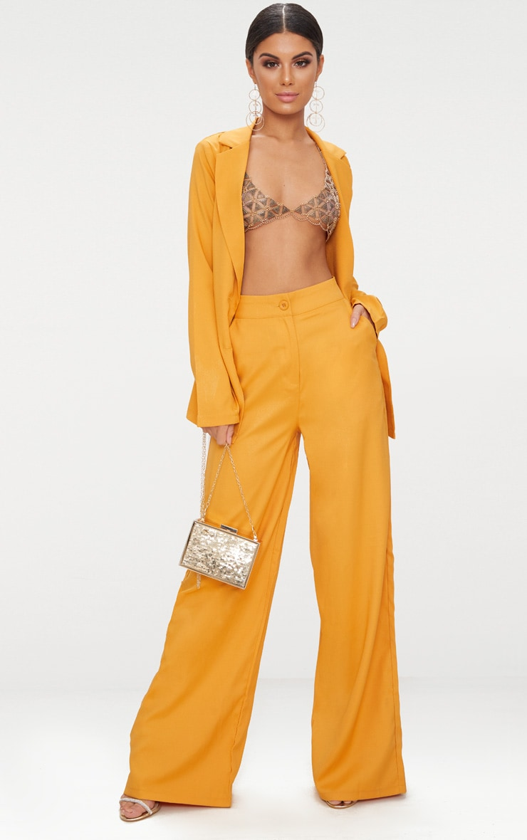 Mustard Wide Leg Suit Trouser  1