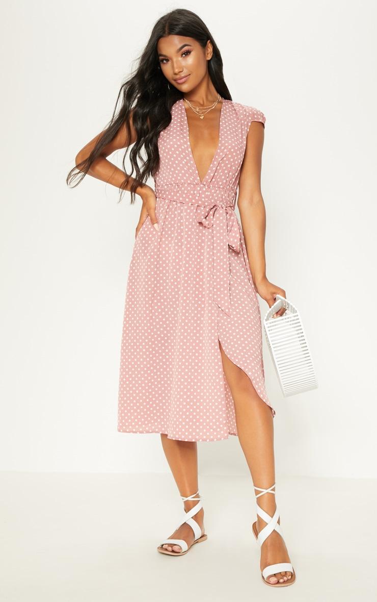 Pink Polka Dot Cap Sleeve Midi Skater Dress 1