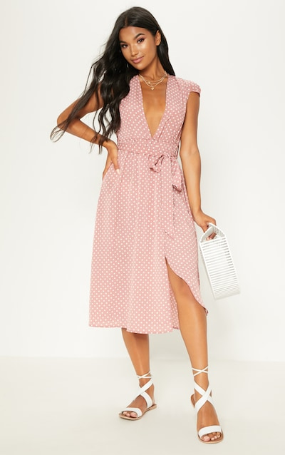 d930e63d923d1 Pink Polka Dot Cap Sleeve Midi Skater Dress