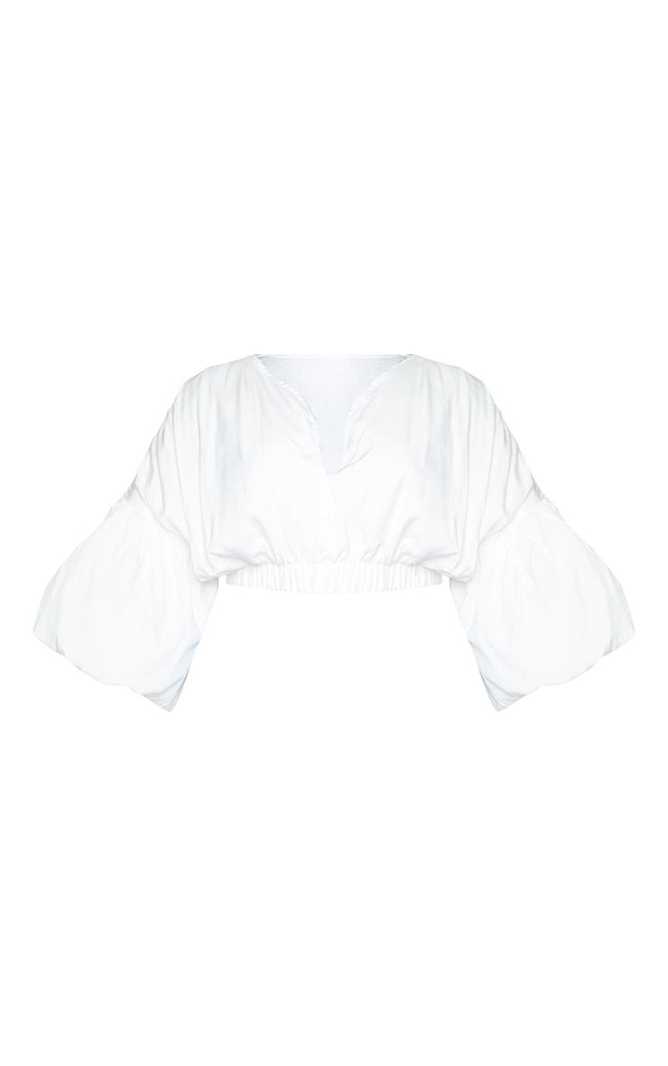 Plus White Puffball Sleeve Crop Top 5