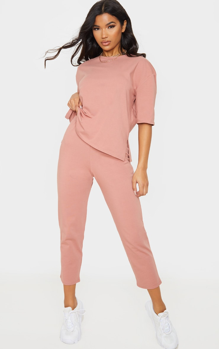 Dusty Rose Jersey Crew Neck Boxy T Shirt & Trouser Set 1