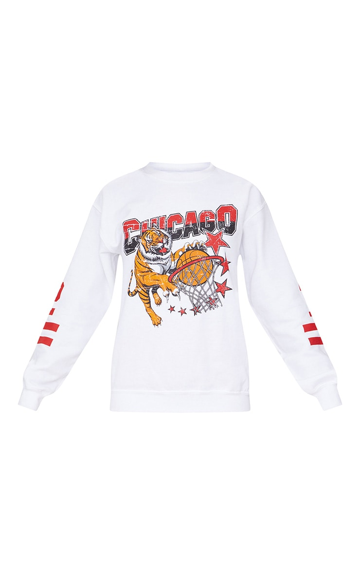White Chicago Slogan Oversized Sweater 3