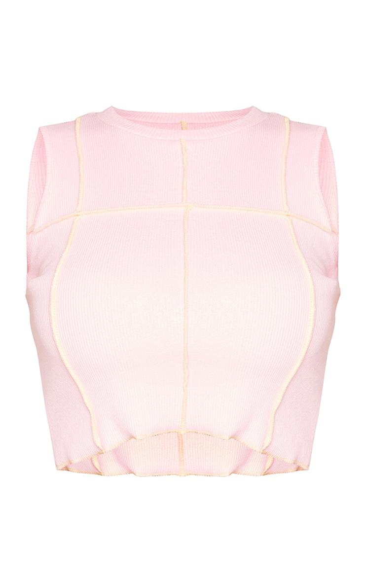 Petite - Top côtelé rose pâle sans manches détail coutures 5