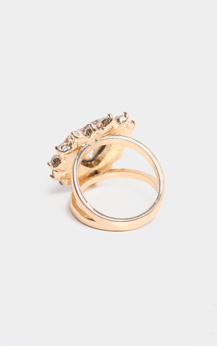 Gold Crystal Heart Shape Cocktail Ring 3