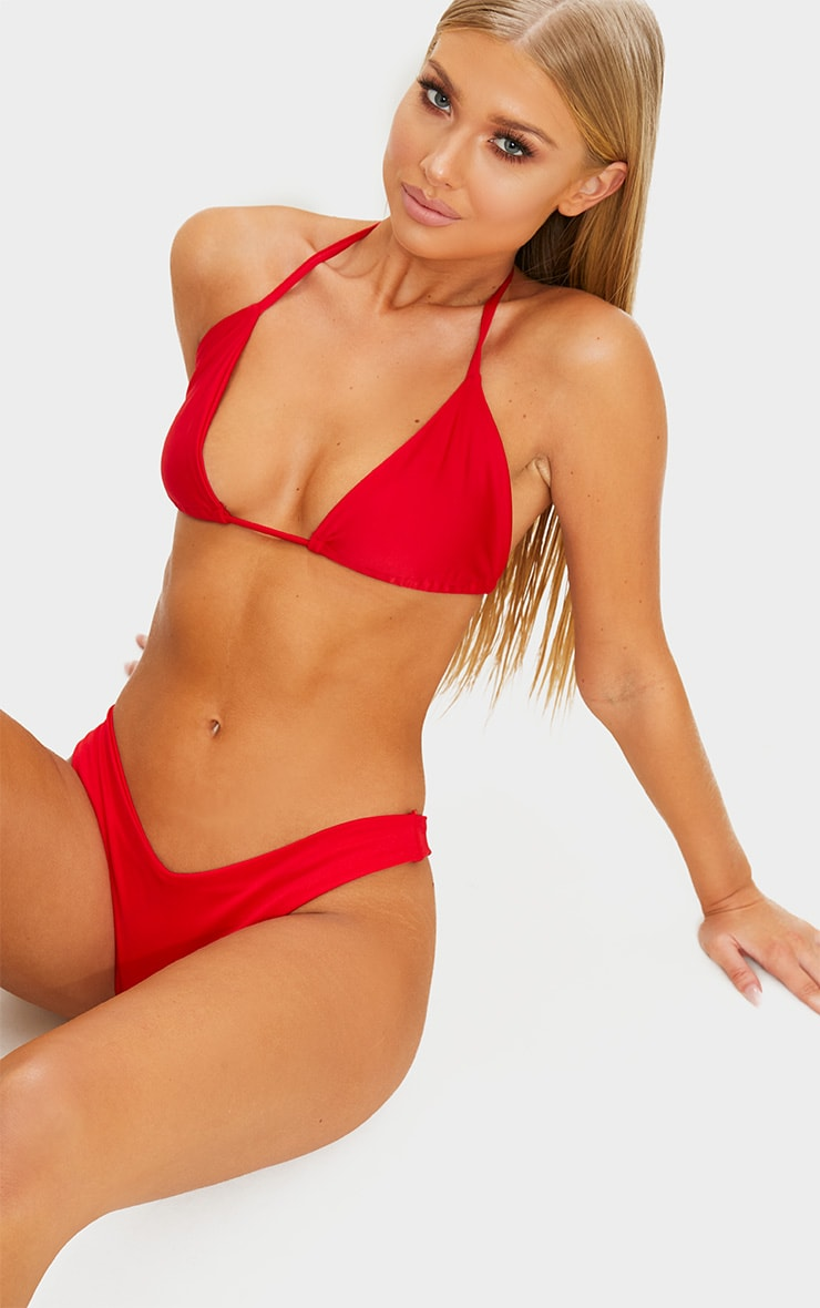 Red Mix & Match Brazilian Thong Bikini Bottom 1