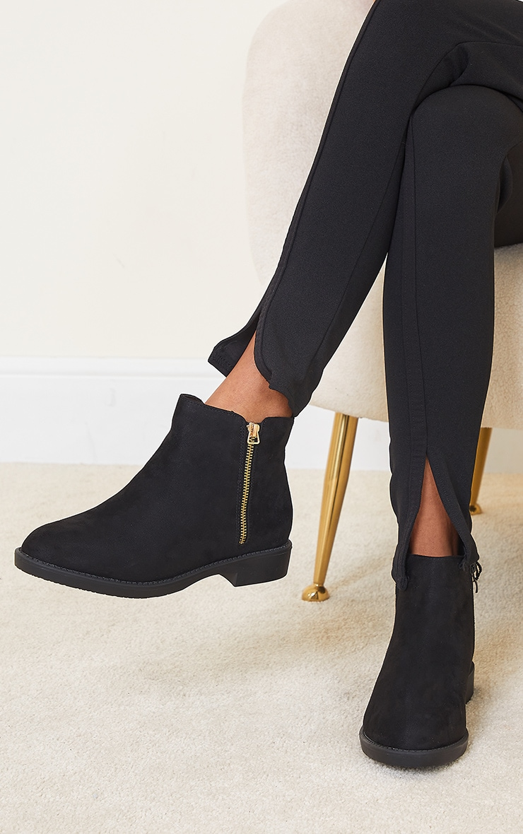 Black Faux Suede Basic Ankle Boots 2