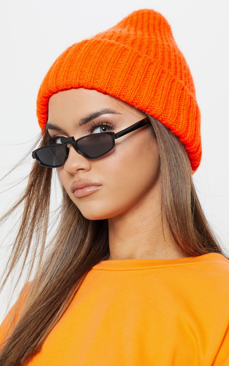 Neon Orange Knitted Ribbed Beanie 1
