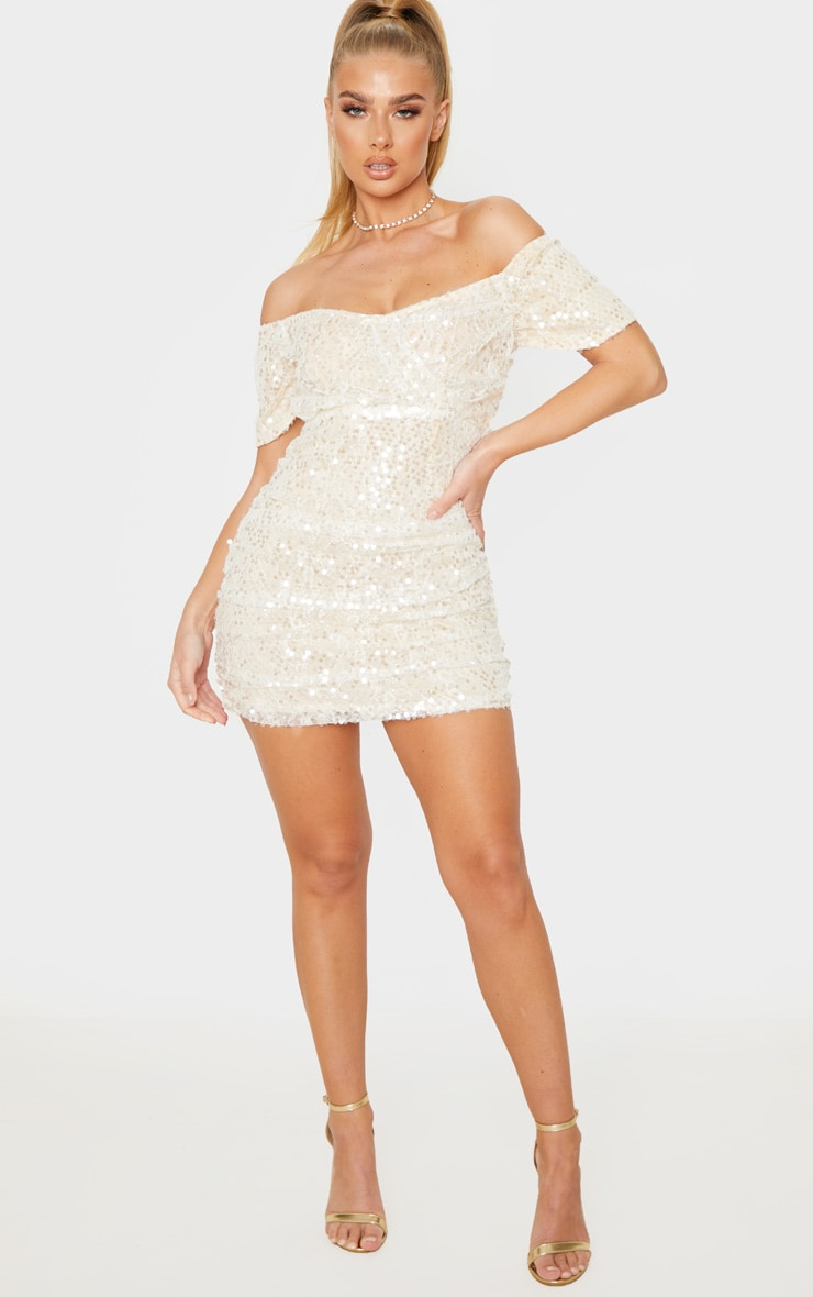 Nude Sequin Lace Detail Ruched Bardot Bodycon Dress 4