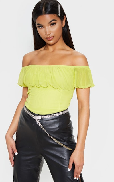 307d4162a328b Lime Ruched Mesh Short Sleeve Top