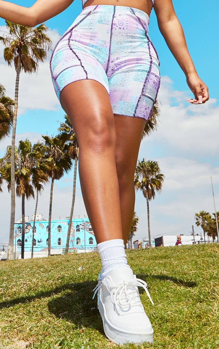 Shape Lilac Paisley Print Rib Overlock Cycling Shorts 2