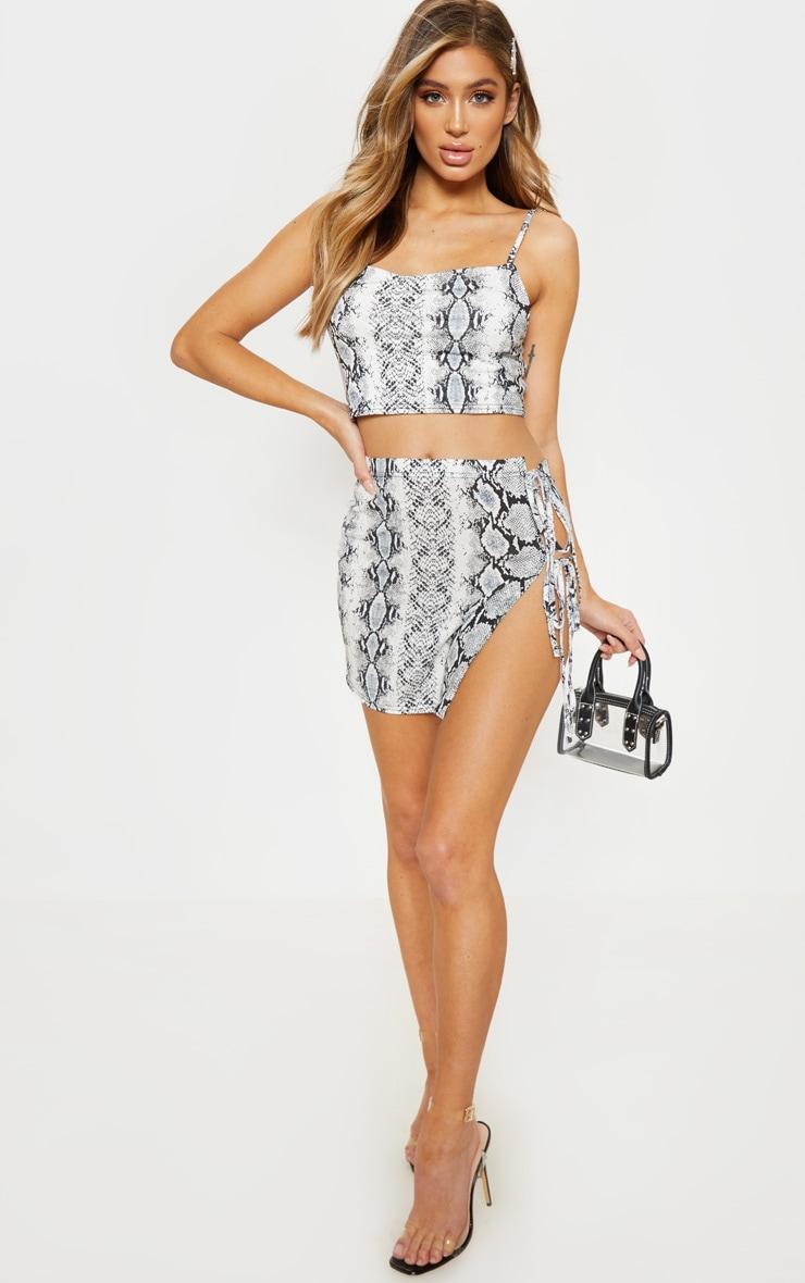 Grey Snake Print Tie Detail Mini Skirt 1