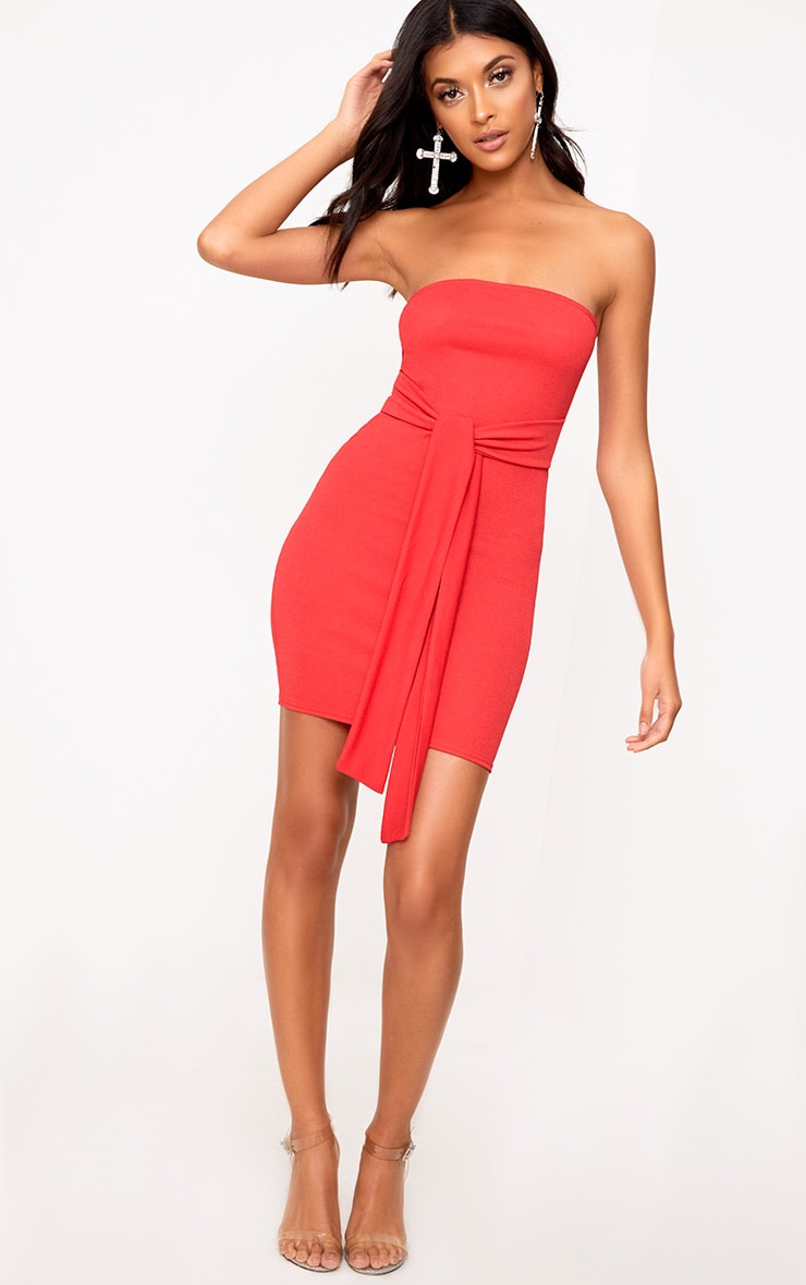 Red Bandeau Tie Front Bodycon Dress 4