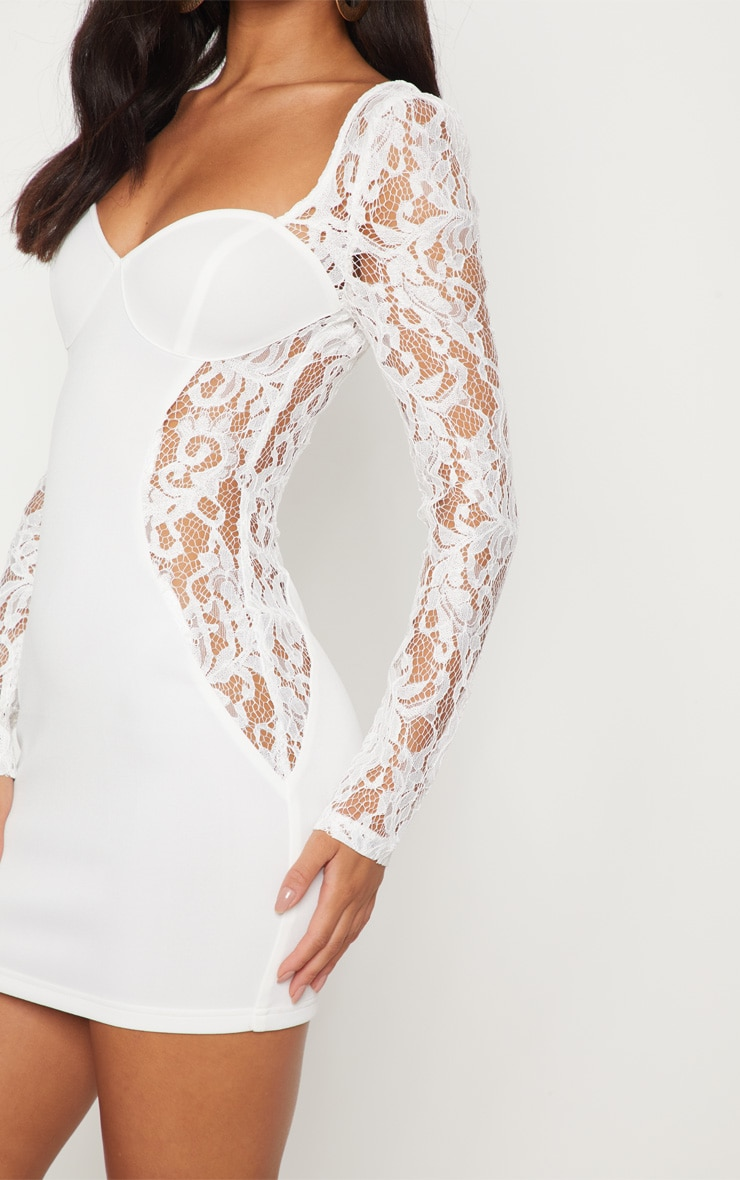 White Lace Insert Cup Bodycon Dress 5