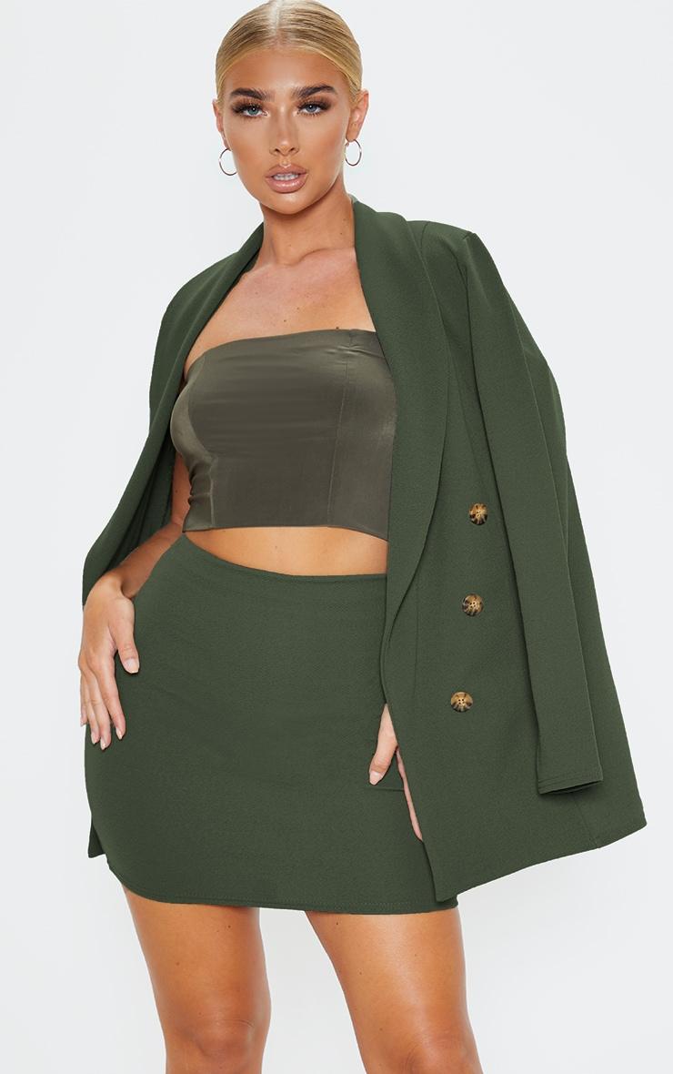 Khaki Mini Suit Skirt 1