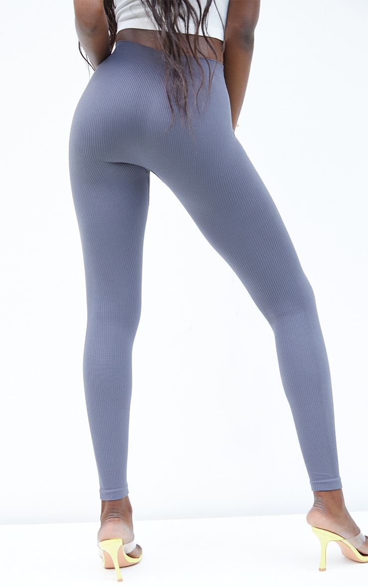 Tall  Grey Structured Contour Ribbed Leggings 3