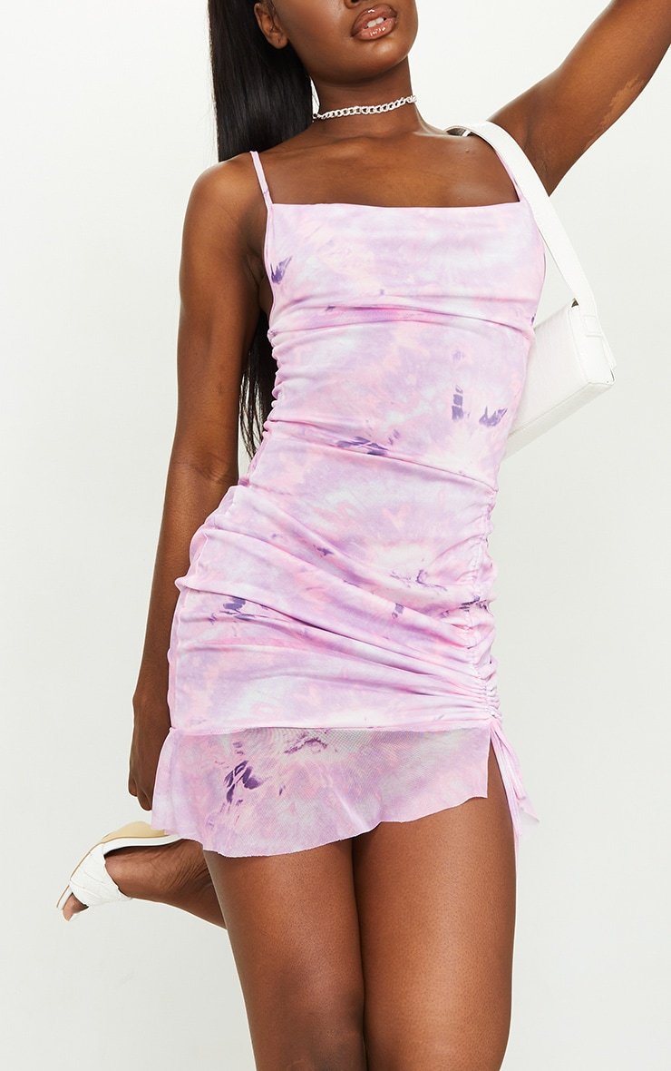 Tall Purple Tie Dye Mesh Cowl Neck Ruched Side Bodycon Dress 4