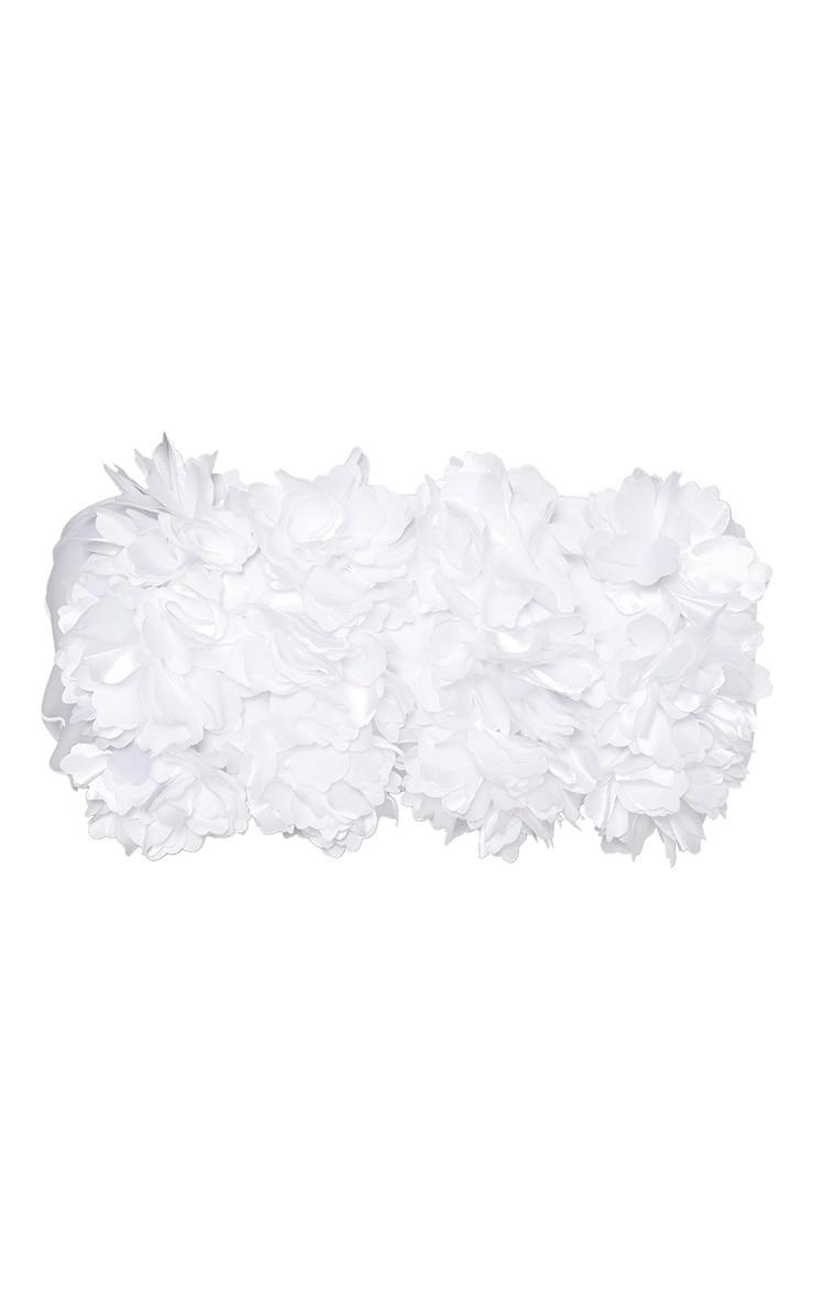 White 3D Floral Bandeau Bikini Top 3