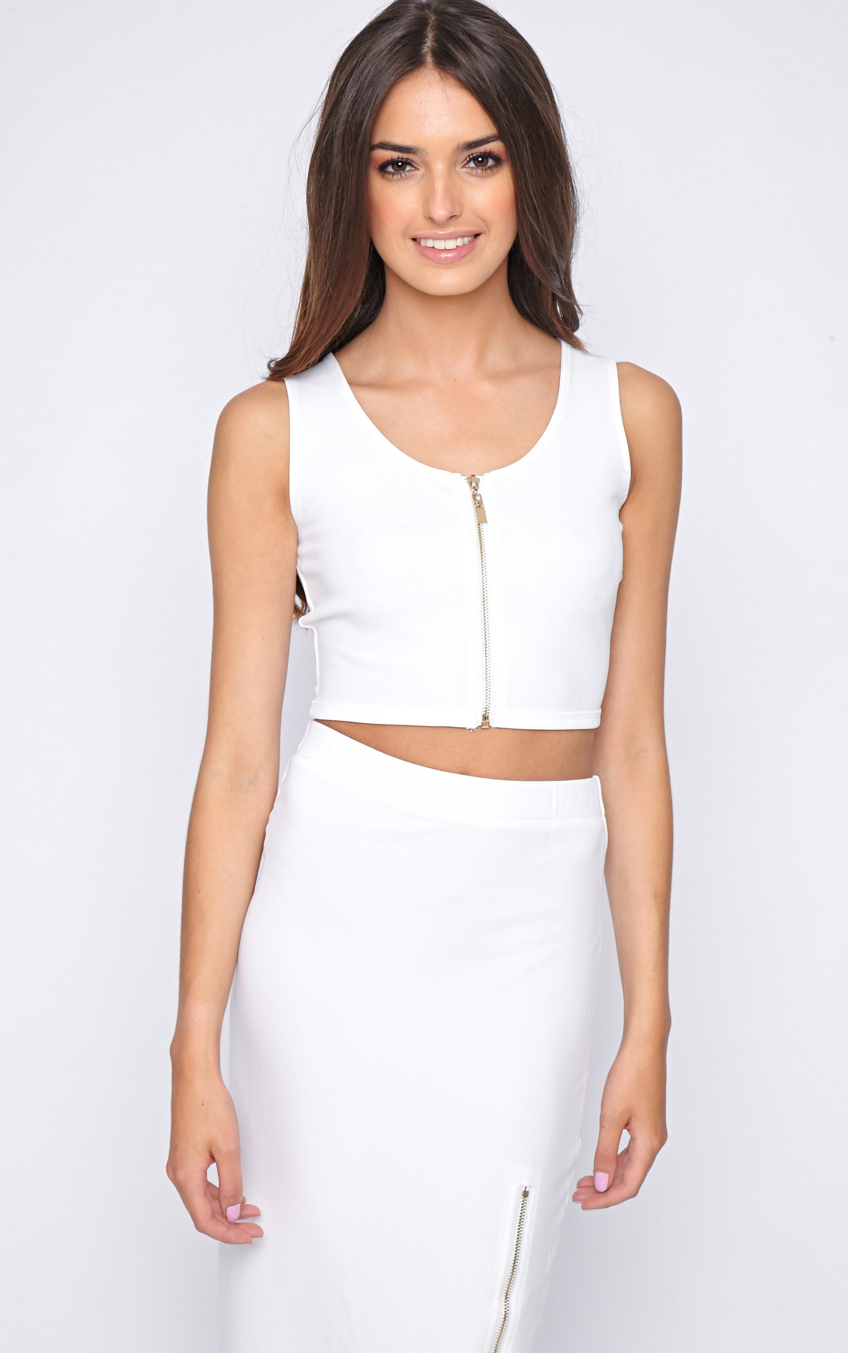 Kadence White Zip Front Crop  3