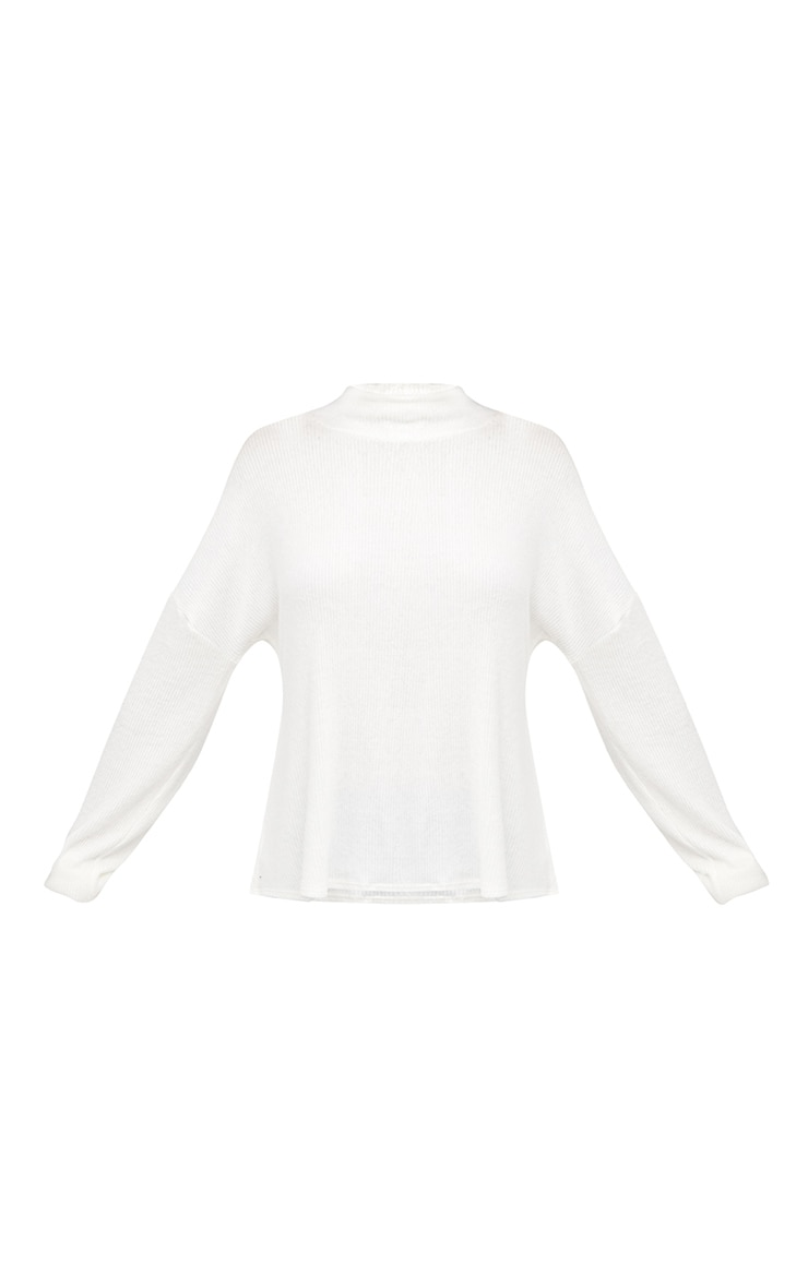 Cream Brushed Soft Rib Roll Neck Top  3