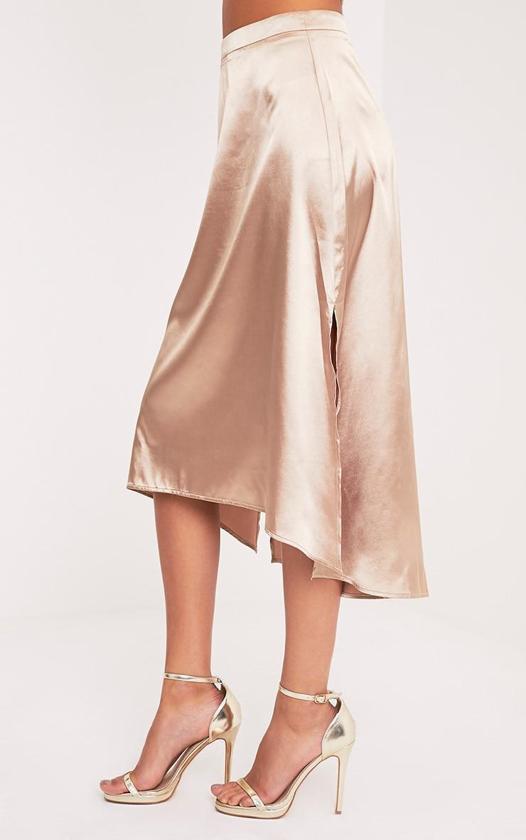 Ennia Champagne Satin Side Split Floaty Midi Skirt 4