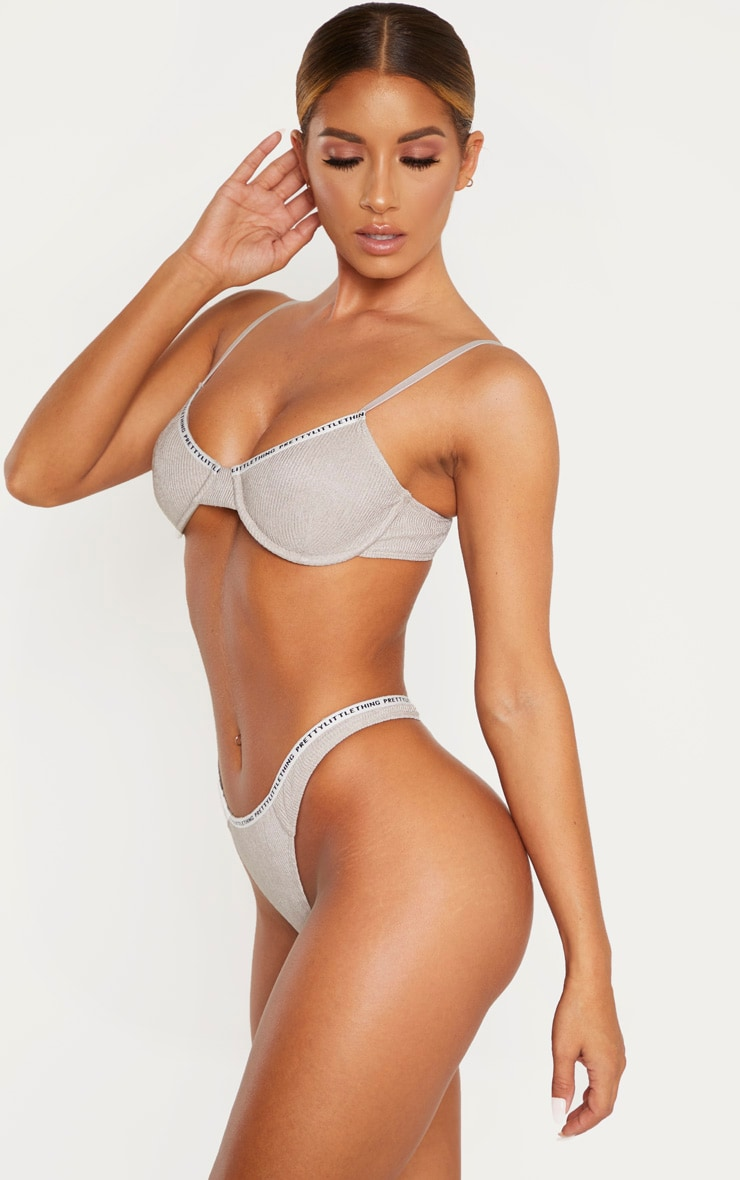 PRETTYLITTLETHING Grey Rib Thong 2