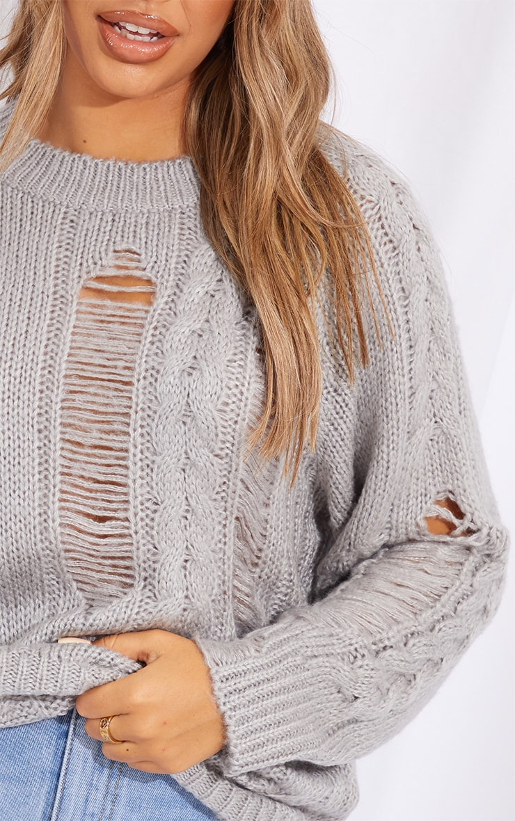 Grey Distressed Cable Knit Oversized Jumper 4