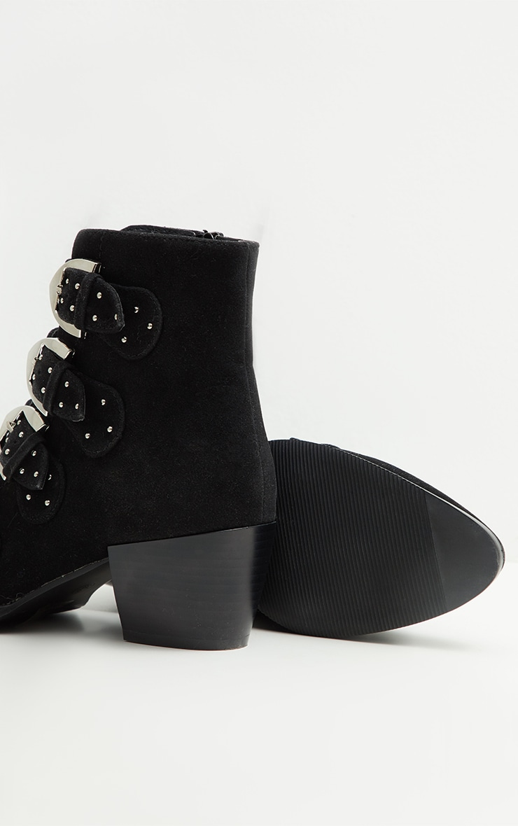 Black Pinstud Buckle Western Ankle Boot 3